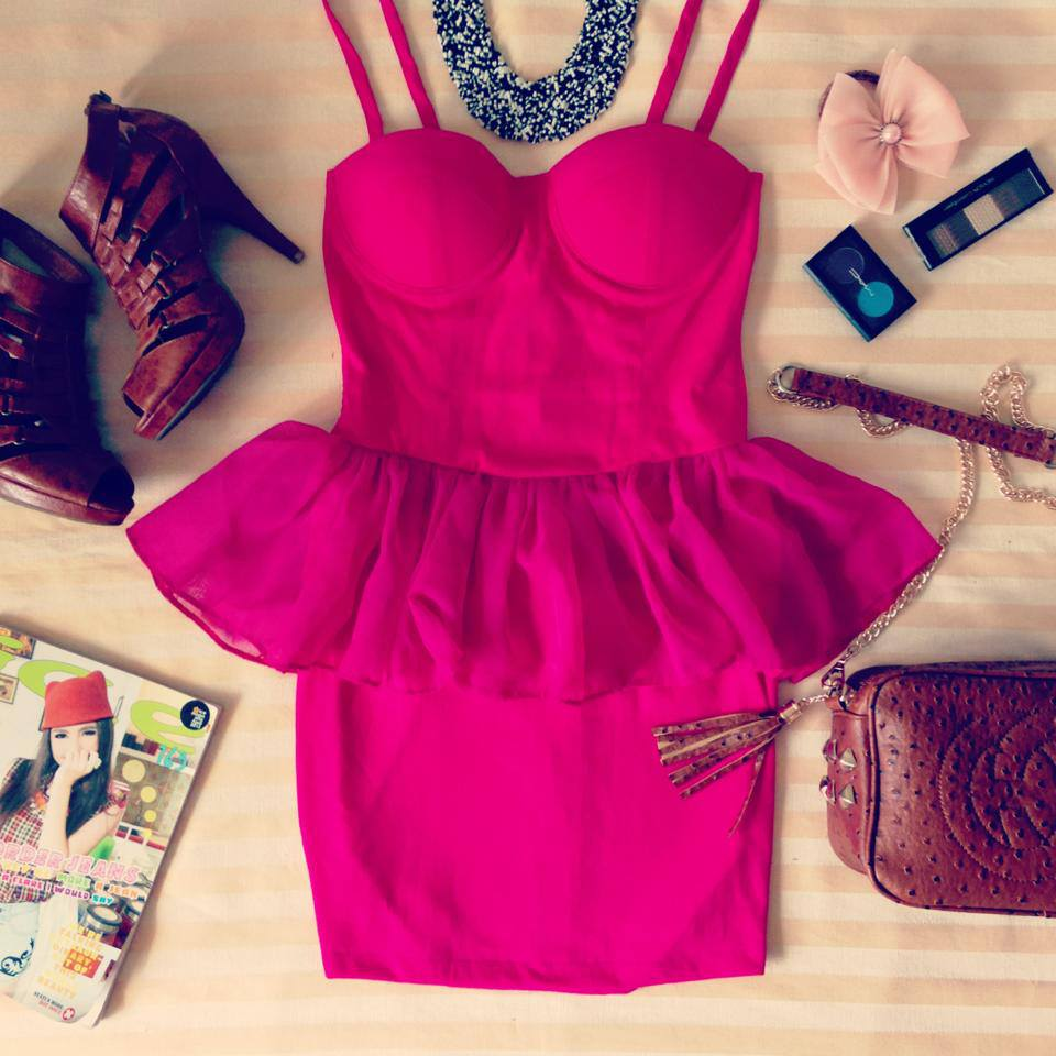 Sexy Pink Peplum Bustier Dress with Adjustable Straps - Size XS/S/M - Smoky Mountain Boutique