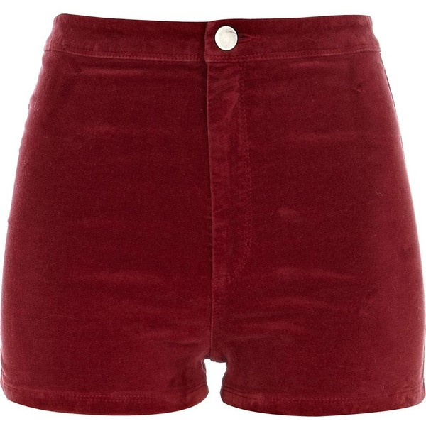 River island red corduroy high waisted shorts