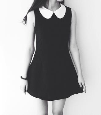 dress vintage peter pan collar black and white black perfect dress cute dress