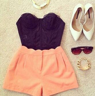 orange shorts love them high waisted shorts black top crop tops lace boob tube top