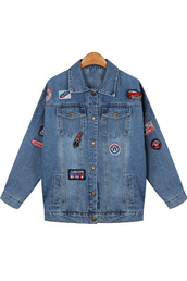 coat,blue lapel badge applique button up denim jacket,denim jacket,applique jacket,ootd,fashion