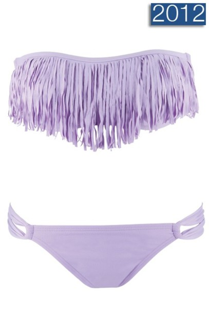 swimwear purple fringe cute bikini