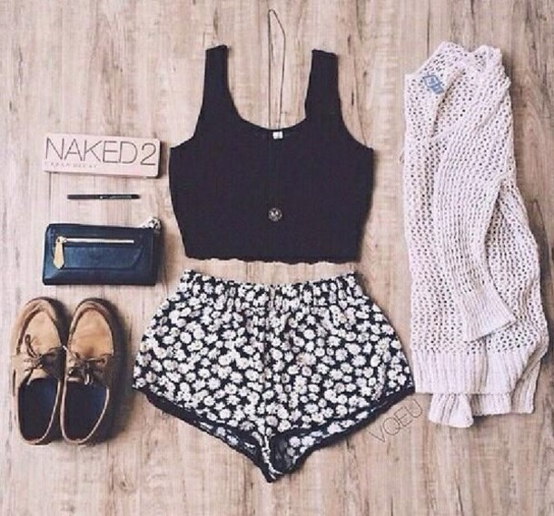 shorts daisy pullover crop tops
