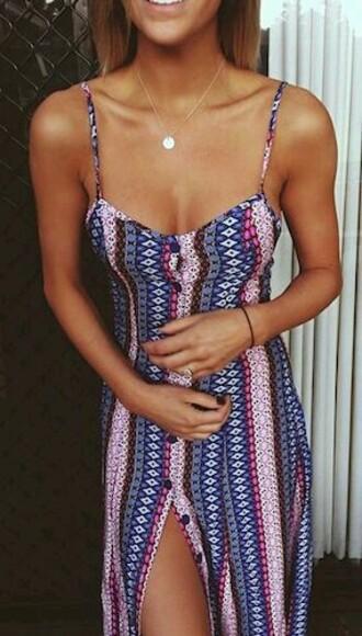 dress long dress bottoms blue and pink dress