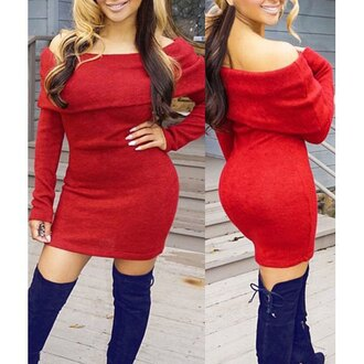 dress christmas sweater off the shoulder curvy casual fashion rose wholesale red sexy sexy off-the-shoulder long sleeve slimming red women's mini dress warm fall outfits long sleeves rosegal-dec