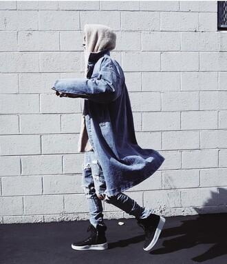 coat long denim jacket bright blue denim mens ripped jeans blue long coat