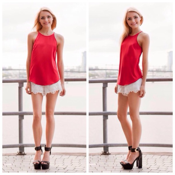 Shirt: red, red top, top, cute, singlet, lace, white, shorts ...