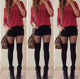 black black shorts black pants shorts short shorts cute outfit summer outfits summer shorts summer style style fashion off the shoulder sweater off the shoulder off the shoulder top red red sweater top t-shirt shirt fall sweater fall outfits spring spring outfits spring dress blouse socks dress coat
