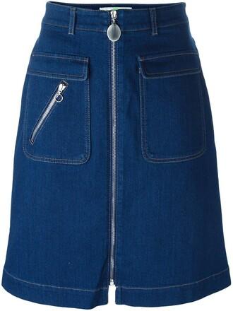 skirt denim skirt denim zip blue