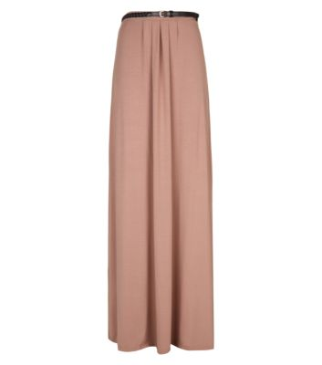 Tall Nude Belted Jersey Maxi Skirt
