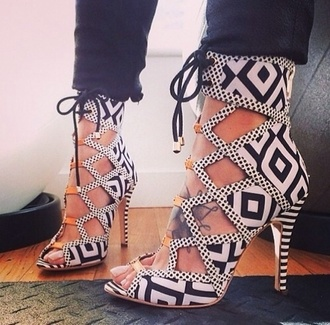 shoes high heels black and white heels black and white stripes multi heels strappy geometric pattern