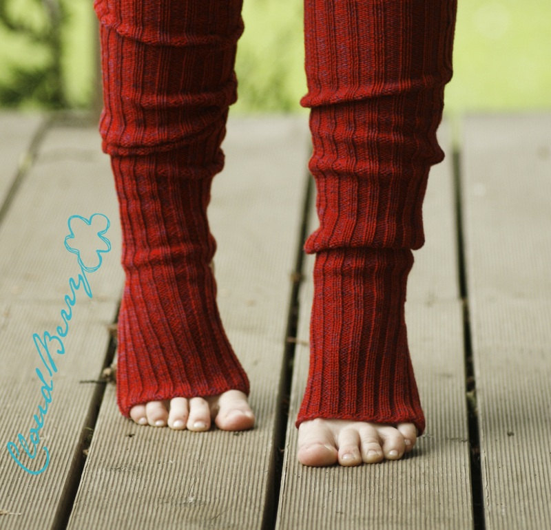Yoga Leg Warmers Knitting Pattern : Yoga socks spats / dance socks / leg warmers / boot socks - Red, very long, k...