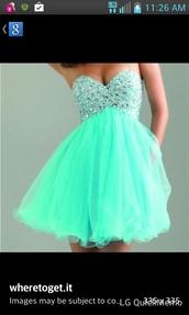 dress,mint dress,teal dress,mint,exact same one,prom dress,sparkle,teel,earphones