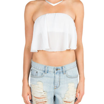 Strapless Flowy Crop Top - White on Wanelo