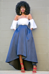 blogger,top,blouse,skirt,jewels,shoes,white off shoulder top,off the shoulder,off the shoulder top,blue skirt,midi skirt,asymmetrical skirt,asymmetrical,belt,earrings,statement earrings,curly hair,sandals,sandal heels,high heel sandals,red sandals