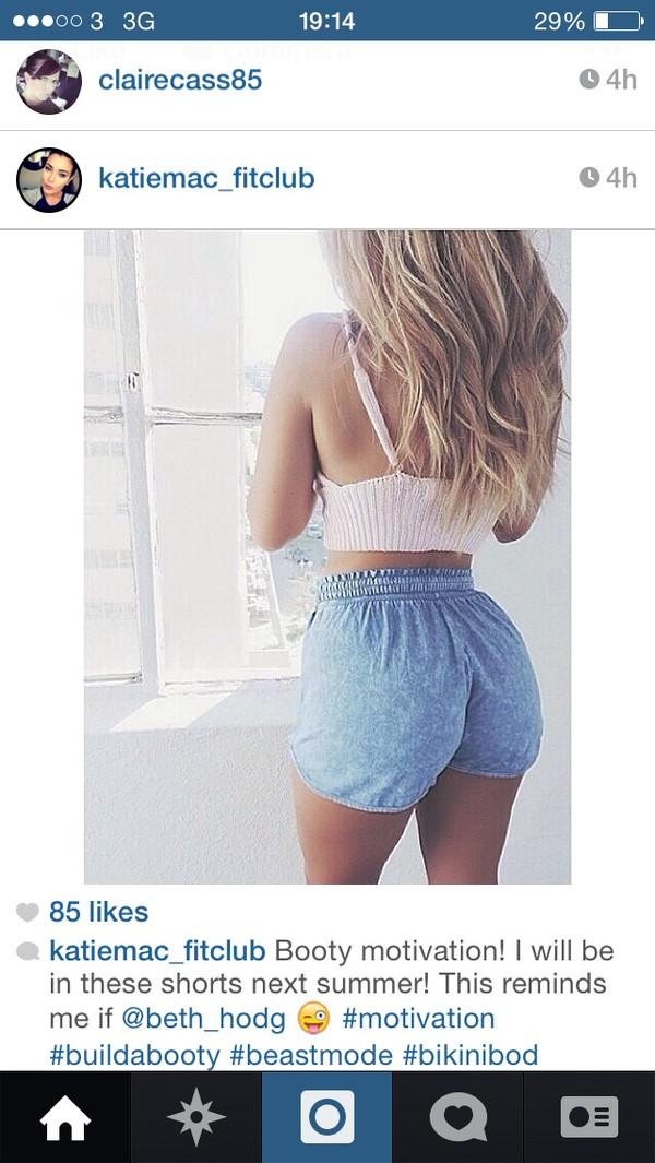Shorts: denim shorts, denim, elastic waist, high waisted shorts ...