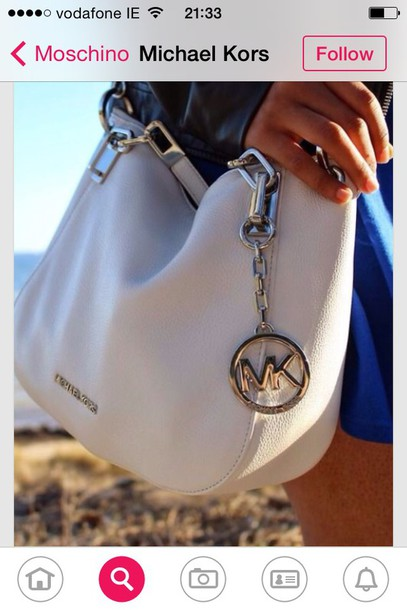 bag michael kors mk white silver