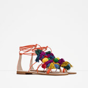 shoes,pom poms,flat sandals,multicolor
