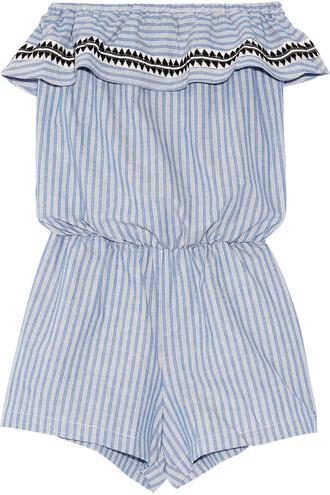 embroidered cotton blue romper