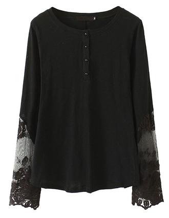 t-shirt blouse basic black brenda-shop lace lace top