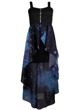 galaxy print black dress blue prom homecoming casual high low dress midi dress black dress goth