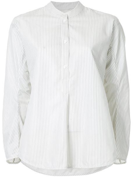 Studio Nicholson shirt striped shirt women white cotton silk top