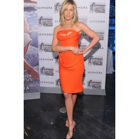 Jennifer Aniston Orange Strapless Sexy Party Dress