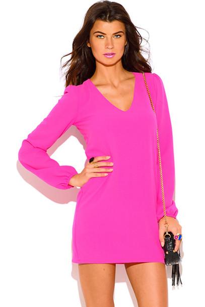 30933b4158e7 dress 1015store bright pink pink dress shift dress summer dress long sleeve  dress open back sexy