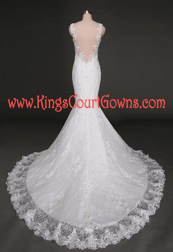 Lace Mermaid Backless Wedding Dress Gown Chapel Train