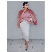 jacket,fur coat,pencil skirt,shoes,crop tops,pink,winter outfits,light pink,pastel pink,coat,pink coat