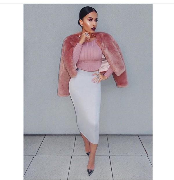 Pastel Pink Fur Coat - Shop for Pastel Pink Fur Coat on Wheretoget