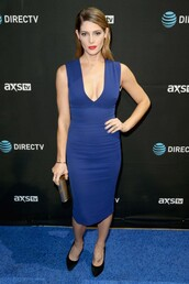 dress,midi dress,blue,blue dress,ashley greene,pumps,plunge dress,plunge v neck