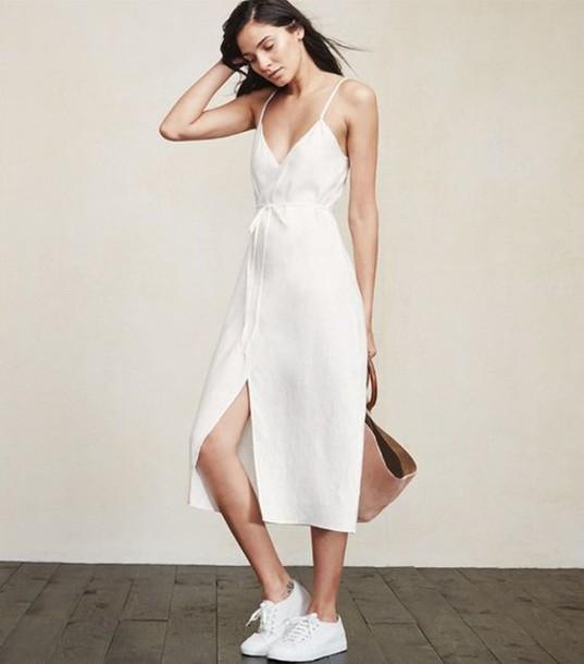 4363712373 dress linen linen dress wrap dress midi dress white dress sneakers white  sneakers bag camel bag