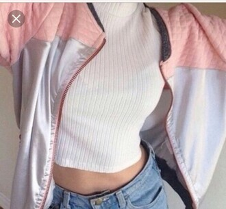 jacket bomber jacket baby pink shirt pink silver shiny white top crop tops shorts denim