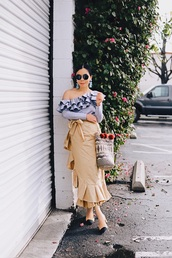 hallie daily,blogger,top,skirt,jewels,sunglasses,bag,wrap ruffle skirt