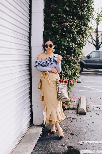 hallie daily blogger top skirt jewels sunglasses bag wrap ruffle skirt