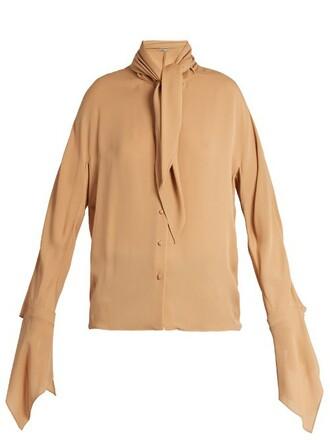 blouse silk nude top