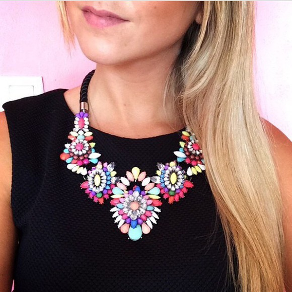 multicolor cute colourful jewels necklace girly pearl black plastron