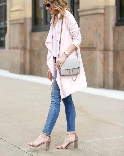 coat top grey bag tumblr pink coat white top denim jeans blue jeans sandals sandal heels high heel sandals ankle strap heels ankle strap bag spring outfits