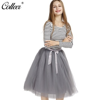 skirt tutu grey tulle skirt fashion style trendy midi skirt girly musheng