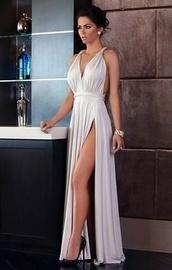 dress,formal dress,white dress,thigh slit,thigh high slit,thigh split dress,thigh split,sexy dress,prom dress,halter neck,halter dress,deep v dress,slit dress,silver,high slit dress