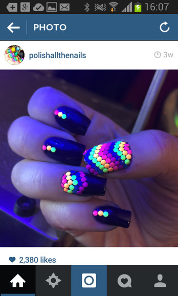 vibrant neon nail accessories glow in the dark
