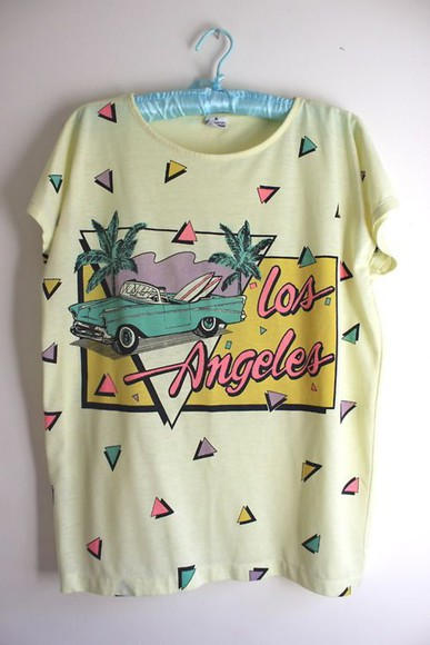 90s style t-shirt los angeles triangle palm tree print