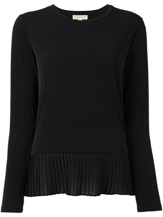 blouse pleated women spandex cotton black top