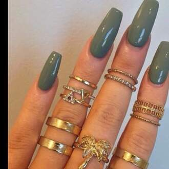 jewels gold ring ring hand jewelry finger rings nail polish nail accessories nail art nails finger nails olive green knuckle ring rings and tings gold jewelry