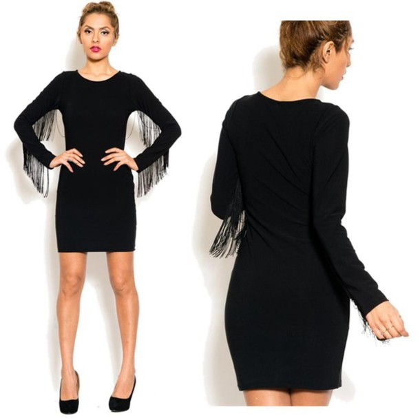 Long Sleeve Long Party Dresses Dress Fringes Long Sleeves
