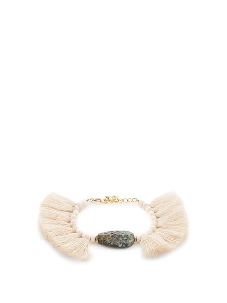 ELISE TSIKIS tassel beaded white jewels