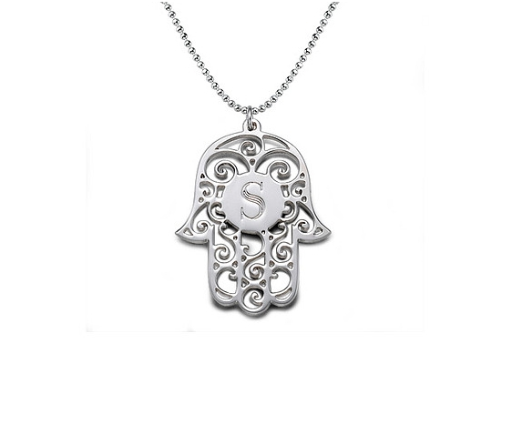 Hamsa Initial Love Necklace