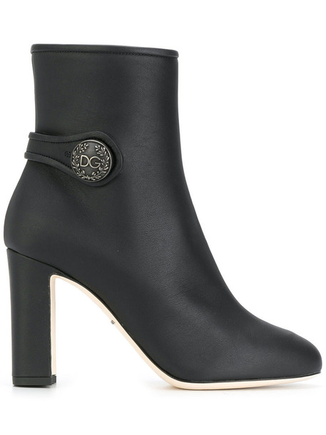 Dolce & Gabbana women ankle boots leather black shoes