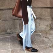 pants,tumblr,wide-leg pants,blue pants,bag,brown bag,shoes,black shoes,gucci,gucci shoes,gucci princetown,loafers,minimalist bag,pajama style